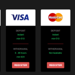 Methods of deposit and withdrawal of money in Casino Adrenaline