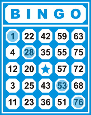 Table with numbers in Bingo