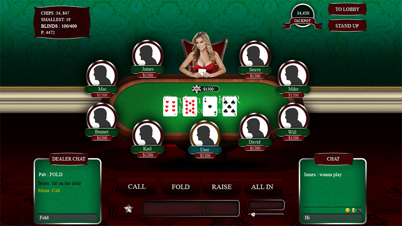 Game table in poker for 9 gamblers