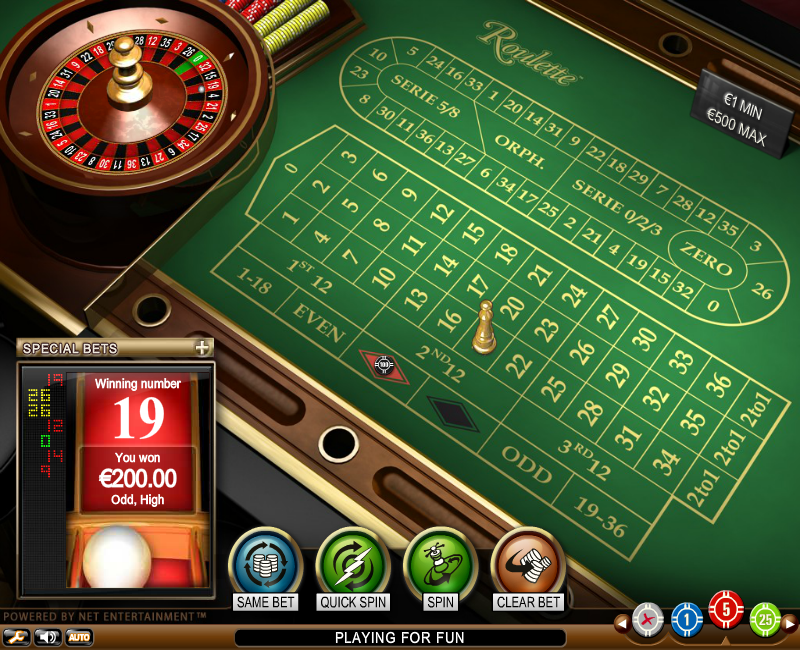 The standard form of the roulette game table in online casino