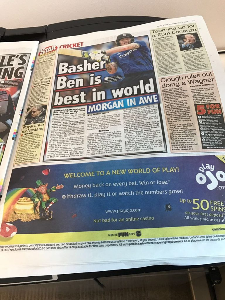 PlayOJO advertising in UK newspapers 1