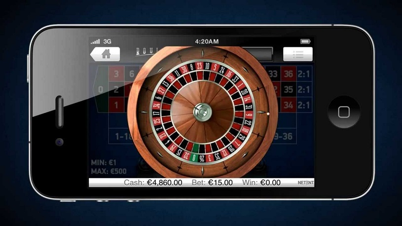 Small display of mobile casino roulette